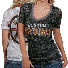 Touch by Alyssa Milano Boston Bruins Black-White Sublimated Sheer Burnout Premium T-shirt