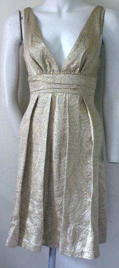 Ladies Size L Maria Bianca Nero  Gold Brocade Coctail Dress