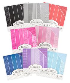 """Core'dinations 12"""" x 12"""" Patterned Cardstock 60 Packs - in 8 different color collections"""