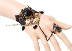 Vintage Victorian Lace Blac Rose Vamp Bracelet / Cuff w Ring Link by RepublicOfRave on Etsy