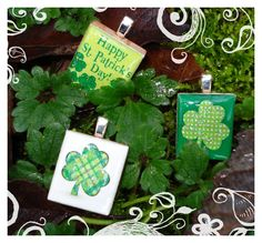 "Happy St. Patrick's Day! Scrabble Tile Pendants from our set ""Lucky Clover"" - Mango and Lime Design"
