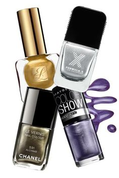 Metallic Mania: Heavy Metal Estée Lauder Pure Color Nail Lacquer in Brushed Gold, $20; nordstrom.com   Formula X for Sephora The Chromes in Need for Speed, $12.50; sephora.com   Maybelline New York Color Show Holographics in Lavender Lustre, $2.97; walmart.com   Chanel Le Vernis Nail Colour in Alchimie, $27; chanel.com