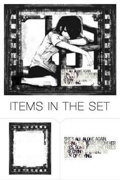 """""""She sat there... All alone"""" by melodey27 ❤ liked on Polyvore featuring art"""