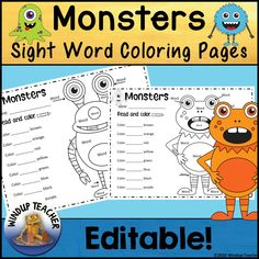 These 2 Monster pages are Editable Sight Word (or anything you choose to put in!) Coloring Sheets.  You can have students color by word, math facts,… Sight Word Coloring, Kindergarten Language Arts, Sight Word Activities, Letter Recognition, Math Facts, Activity Sheets, Sight Words, Summer Activities, Coloring Sheets