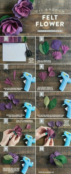 Sewing Fabric Flowers Mother's Day Felt Flower - Make something special for Mom this Mother's Day with this DIY Mother's Day Felt Flower Brooch. Pattern and tutorial included! Handmade Flowers, Diy Flowers, Fabric Flowers, Paper Flowers, Handmade Ideas, Felt Flowers Patterns, Diy Ideas, Craft Ideas, Fresh Flowers