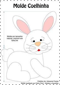 Blog voltado à artesanato em geral. Felt Patterns, Applique Patterns, Craft Patterns, Bunny Crafts, Felt Crafts, Easter Crafts, Sewing Toys, Sewing Crafts, Sewing Projects