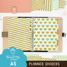 Planner dividers: MINT & GOLD  Glitter  A5 by StrawberryScraps
