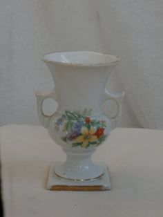 Victoria Czechoslovakia Mini Vase with Flower Decoration - Small sized vase - classic styling.