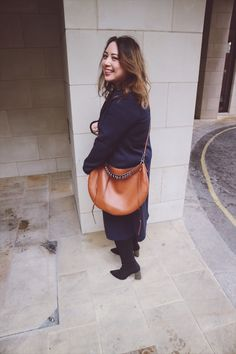 Plates of Style Navy Trench, Tan Leather, Perfect Match Navy Trench Coat, Loewe Bag, Style Ideas, Style Inspiration, Zara Boots, Hobo Bag, Perfect Match, Tan Leather, Cross Body
