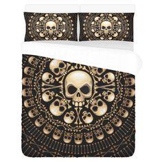 Cross Bone Tribal Skull Printed Bedding Set