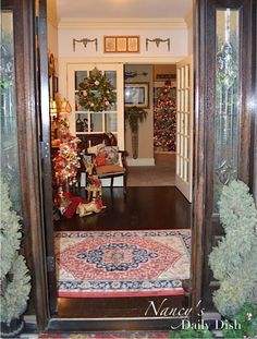 Nancy's Daily Dish: My Christmas Entryway & Transferware Pitcher Wreath
