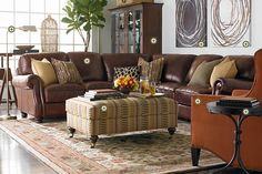 Brown leather L sectional