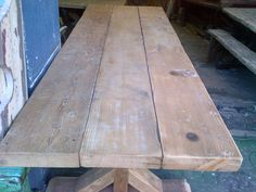 Rustic table, recycled. Oregon pine. Reclaimed.Chunky legs Dining Furniture, Dining Room Table, Custom Made Furniture, Furniture Design, Scaffolding Wood, Timber Table, French Oak, Outdoor Tables, Rustic Table