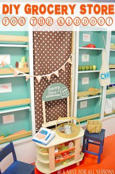 DIY Kids Grocery Store (and other ideas for Chef Week at Mommy Camp)  A Nest for All Seasons