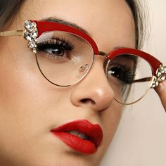 Crystal Eyeglasses - Red attracts attention and is sexy, which is a perfect combination for a frame that is already int - Funky Glasses, Cute Glasses, Red Cat Eye Glasses, Retro Eye Glasses, Glasses Style, Glasses Outfit, Fashion Eye Glasses, Red Eyeglasses, Eyeglasses For Women