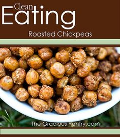 Clean Eating Roasted Chickpeas. Makes a wonderful grab-n-go snack! #cleaneating #eatclean #cleaneatingrecipes #dairyfree #dairyfreerecipes #cleaneatingdiaryfreerecipes