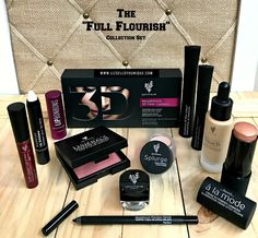 The Full Flourish is $215 US ($39 Savings and includes: 1 Touch Mineral Liquid Foundation 1 Touch à la mode Cream to Powder Luminizer 1 Moodstruck Minerals Pressed Blusher 1 Moodstruck Precision Pencil Eyeliner 1 Splurge Cream Shadow 1 Moodstruck Minerals Pigment Powder 1 Moodstruck 3D Fiber Lashes+ 1 Lip Bonbons Tinted Lip Balm 1 Moodstruck Lip Exfoliator 1 Moodstruck Minerals Stiff Upper Lip Lip Stain 1 FREE Makeup Bag—your choice of style FREE SHIPPING…