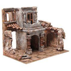Borgo antico con capanna presepe cm 35x38x25