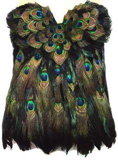 PEACOCK Feather Corset Las Vegas Burlesque Custom by sajeeladesign, $159.95