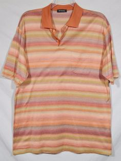 ST. CROIX Mens Orange Red Purple Yellow Striped Polo Shirt XL Short Sleeves #StCroix #PoloRugby