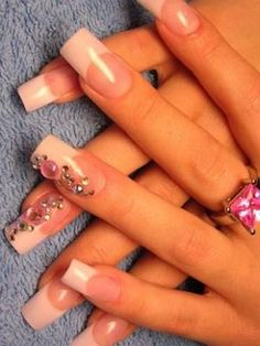Elegant Nail Art with crystals