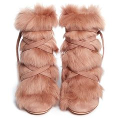 Gianvito Rossi 'Moritz' fur crisscross tie suede boots ($815) ❤ liked on Polyvore featuring shoes, boots, heels, pull on boots, tie boots, criss cross boots, slip on shoes and fur boots