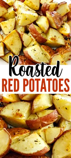 This Oven Roasted Red Skin Potatoes recipe is an easy side dish that pairs well with all your favorite main dish meats. You'll only need a few ingredients: red skin potatoes, olive oil, minced garlic, Red Skin Potatoes Recipe, Roasted Red Skin Potatoes, Oven Roasted Red Potatoes, Potatoes In Oven, Red Skinned Potatoes, Carrots Oven, Healthy Side Dishes, Side Dishes Easy, Vegetable Side Dishes