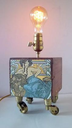 Custom Made Upcycled Caster Table Lamp - Vintporium Architectural Salvage - Upcycled, Wooden, Caster, Table, Art Nouveau, Portable Lamp, Custom Made. Light, Lighting. Lite, Light Fixture