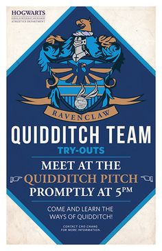 Ravenclaw Quidditch Tryouts by PaperHooch on Etsy