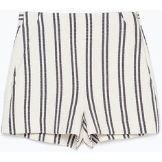 Zara High-Waisted Striped Shorts (€18) ❤ liked on Polyvore featuring shorts, bottoms, short, pants, highwaist shorts, stripe shorts, high waisted shorts, high rise shorts and high waisted short shorts