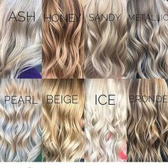 Blonde Color Chart, Blonde Hair Colour Shades, Blonde Tones Chart, Different Color Blondes, Different Shades Of Blonde, Sandy Blonde Hair, Pearl Blonde, Blonde Dye, Ice Blonde
