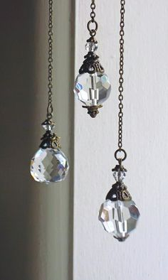 crystal prisms, sun catchers, hanging crystal, set of three, three sisters, small crystal drops, pendulum prisms, unique crystal gift