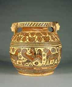 Corinthian Round-Bodied Pyxis; Perhaps by the Chimaera Painter (Greek (Corinthian), active 600 - 575 B.C.); Greece (Corinth); about 570 B.C.; Terracotta; 21.7 × 22.2 cm (8 9/16 × 8 3/4 in.); 88.AE.105; J. Paul Getty Museum, Los Angeles, California