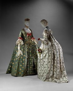 Victorian Dress (Robe à la Française)  Date: 1750–75 Culture: French Purchase, Irene Lewisohn Bequest, 1954 - Metropolitan Museum    Colonial Era Fashion