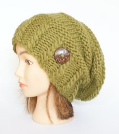 Items similar to Olive green slouchy beanie hat Irish knitted slouch hat  with button handknit beanie hat for women warm winter hat Johanna hat on  Etsy ce6d15328fb5
