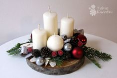 Znalezione obrazy dla zapytania stroiki świąteczne Candle Holders, Christmas Decorations, Candles, Crafts, Xmas, Magic, Advent Calenders, Christmas, Crafting