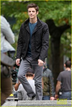 Grant Gustin Dressed Up As The Flash For Halloween - On 'The Flash' Set!