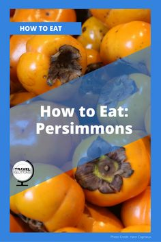 Like pomegranates and pumpkins, fall is the season for these orange beauties known as persimmons, sharon fruits or kaki fruits. Persimmons originate from China and Japan, and are popular yard fruit trees in the United States. This article teaches you how to choose, store, and eat persimmons.