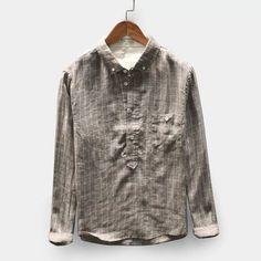 Vintage Plaid Linen Loose Comfy Popover Button down Shirts Casual Shirts, Tee Shirts, Plaid Shirts, Retro 2, Vintage Men, Shirt Style, Long Sleeve Shirts, Underwear, Button Down Shirt