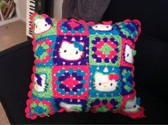 Hello kitty crochet pillow. Love this - so would my niece! and like OMG! get some yourself some pawtastic adorable cat apparel!