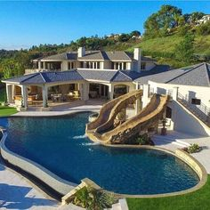 Olivia saved to Pools15 Luxury Homes with Pool – Millionaire Lifestyle – Dream Home - House with sliding water pool #landscaping #pooldesigns #poolhouse