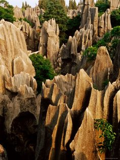Travel Asian China Stone Forest. Yunnan, China. - Truly a fun park to see. The rock formations are amazing and the people who are native to the area run food and souvenir booths. Really wonderful embroidered items to be found, handmade by the Sani people.