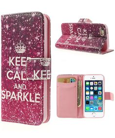iPhone 5(S) Keep Calm Wallet Stand Case