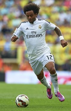 Marcelo of Real Madrid in action during the La Liga match between Villarreal CF and Real Madrid at El Madrigal on September 27, 2014 in Villarreal, Spain.