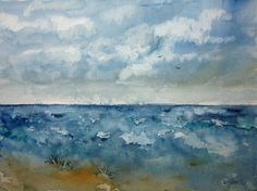 Beachscape Watercolor Landscape Painting archival by RPeppers
