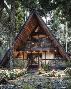 A Frame House Plans, A Frame Cabin, Tiny House Cabin, Cabin Homes, Cabin Design, Tiny House Design, Triangle House, Cabins And Cottages, House In The Woods