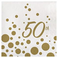 Creative Converting 317843 16 Count 50th Anniversary Paper Lunch Napkins Sparkle and Shine Gold ** Learn more by visiting the image link.