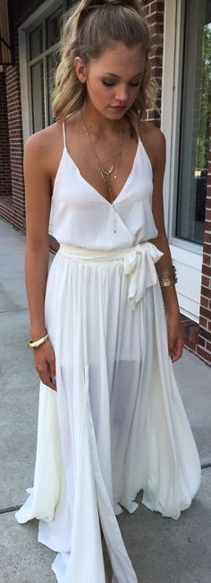 summer outfits  White Boho Maxi Dress
