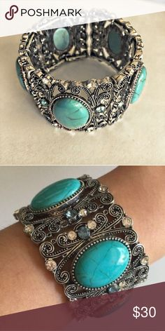 The Galaxy Turquoise & Crystal Stretch Bracelet Stretchy, paneled bracelet. Beautiful glass crystals, clear and turquoise. Large, oval turquoise stones with a beautiful antique finish. Stunning accessory to wear with just about anything! Bundle & Save!  18k Plate Based Metals   Glass Crystals  Lead and Nickel Free  Made in China posh on first boutique Jewelry Bracelets