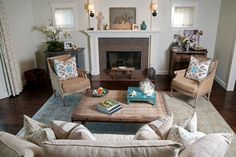 Beige and taupe living room with turquoise accents.